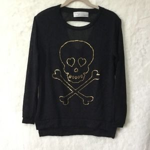 Vintage Havana Black with Gold Skull Sweater
